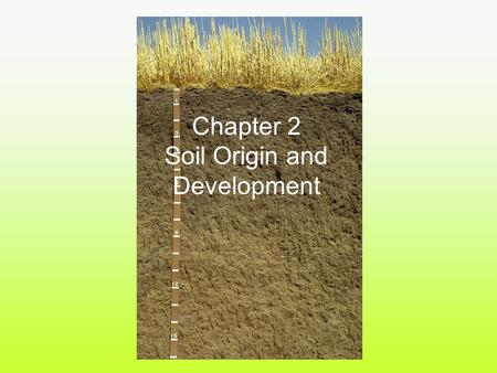Chapter 2 Soil Origin and Development. Pedon - a small section or body of soil for studying soil characteristics... typically 3' x 3' x 5' Over time,