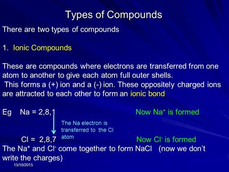 Types <strong>of</strong> Compounds 15/10/2015 There are two types <strong>of</strong> compounds 1. Ionic Compounds These are compounds where electrons are transferred from one atom to.