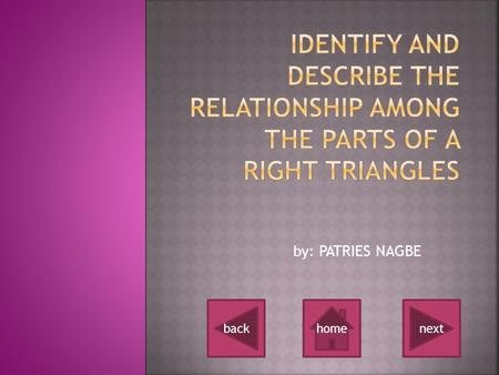By: PATRIES NAGBE nextbackhome.  What is a right triangle ? What is a right triangle ?  What are the parts of a right triangle ?  What is a hypotenuse.