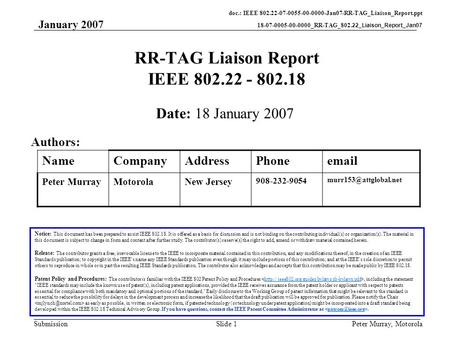 Doc.: IEEE 802.22-07-0055-00-0000-Jan07-RR-TAG_Liaison_Report.ppt 18-07-0005-00-0000_RR-TAG_802.22_Liaison_Report_Jan07 Submission January 2007 Peter Murray,