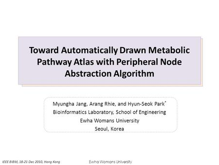 Toward Automatically Drawn Metabolic Pathway Atlas with Peripheral Node Abstraction Algorithm Myungha Jang, Arang Rhie, and Hyun-Seok Park * Bioinformatics.