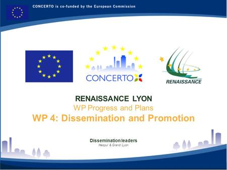 Dissemination leaders Hespul & Grand Lyon RENAISSANCE LYON WP Progress and Plans WP 4: Dissemination and Promotion.