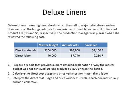 Deluxe Linens Deluxe Linens makes high-end sheets which they sell to major retail stores and on their website. The budgeted costs for materials and direct.