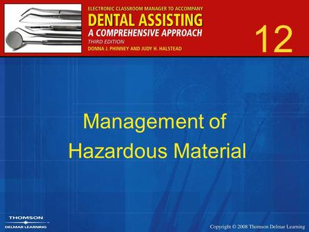 12 Management of Hazardous Material. 2 OSHA's Objective To provide a safe work environment for all employees.