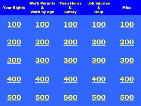 Teen Hours & Safety Misc Job Injuries & Help Your Rights Work Permits & Work by age 100 200 300 400 500 100 200 300 400 500.