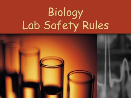 Biology Lab Safety Rules. Protect Your Eyes Goggles must be worn at all times when told to do so.