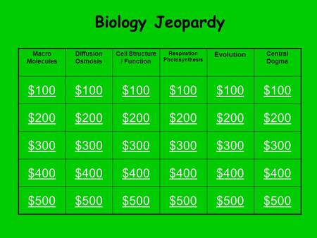 Biology Jeopardy Macro Molecules Diffusion Osmosis Cell Structure / Function Respiration Photosynthesis Evolution Central Dogma $100 $200 $300 $400 $500.
