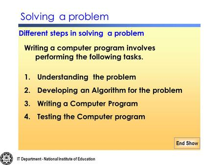 End Show Writing a computer program involves performing the following tasks. 1. Understanding the problem 2. Developing an Algorithm for the problem 3.