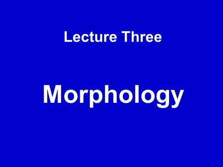 Lecture Three Morphology. 1. a. micro + file b. be + draggle + ed c. announce + mentd. pre +digest + ion e. tele + communicate + ion f. fore + father.