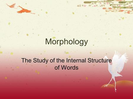 Morphology The Study of the Internal Structure of Words.
