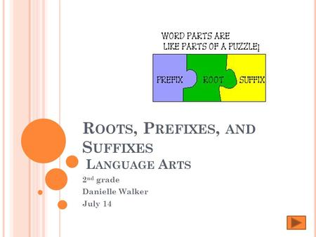 R OOTS, P REFIXES, AND S UFFIXES L ANGUAGE A RTS 2 nd grade Danielle Walker July 14.