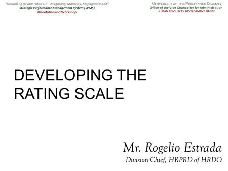 DEVELOPING THE RATING SCALE