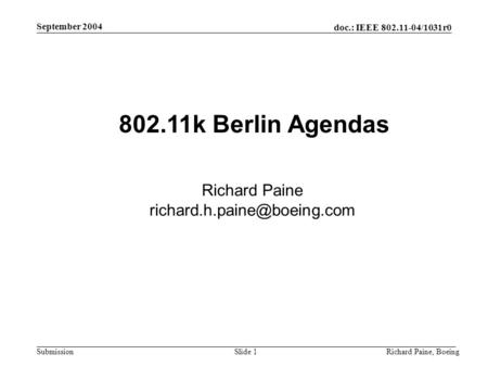 802.11k Berlin Agendas Richard Paine