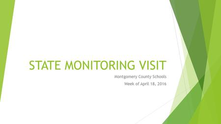 STATE MONITORING VISIT Montgomery County Schools Week of April 18, 2016.