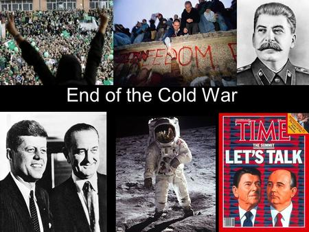 "End of the Cold War. Arms Race Gets Crazy! US President Reagan increases funding for arms (example: ""Star Wars"" missile defense system) USSR, going broke,"