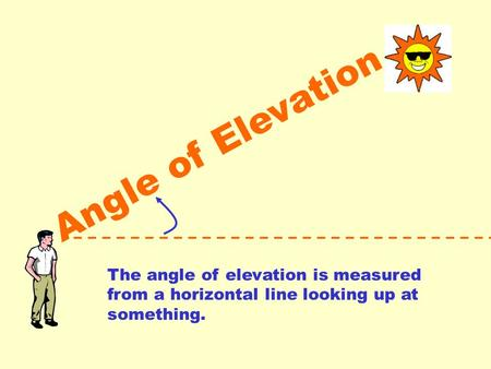 Angle of Elevation The angle of elevation is measured from a horizontal line looking up at something.