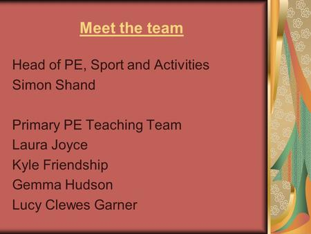Meet the team Head of PE, Sport and Activities Simon Shand