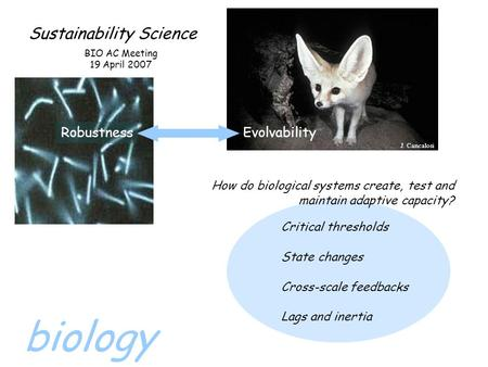 Sustainability Science RobustnessEvolvability BIO AC Meeting 19 April 2007 How do biological systems create, test and maintain adaptive capacity? Critical.