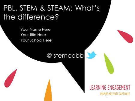 PBL, STEM & STEAM: What's the difference? Your Name Here Your Title Here Your School Here stemcobb.