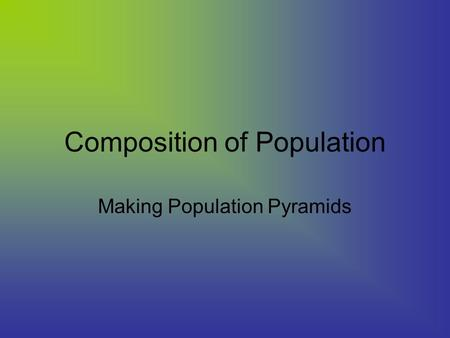 Composition of Population Making Population Pyramids.