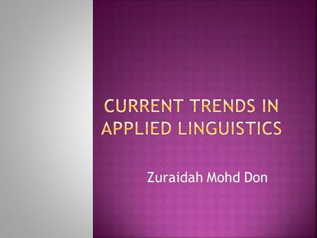 Zuraidah Mohd Don.  Applied Linguistics is now so fragmented in its range of interests that one can no longer rely on a common basis of shared assumptions.