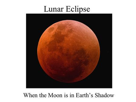 Lunar Eclipse When the Moon is in Earth's Shadow.