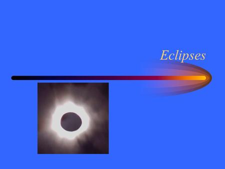 Eclipses. Lining Up At new moon the moon can block the sun. At full moon the earth can block the sun to the moon. This is called an eclipse. –Solar eclipse,
