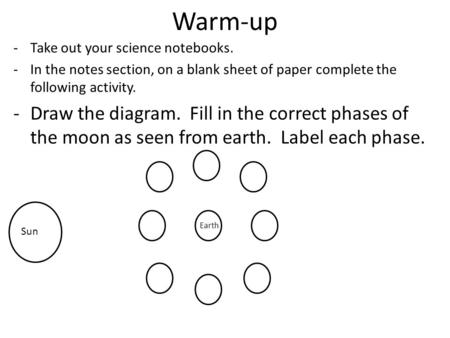 Warm-up -Take out your science notebooks. -In the notes section, on a blank sheet of paper complete the following activity. -Draw the diagram. Fill in.