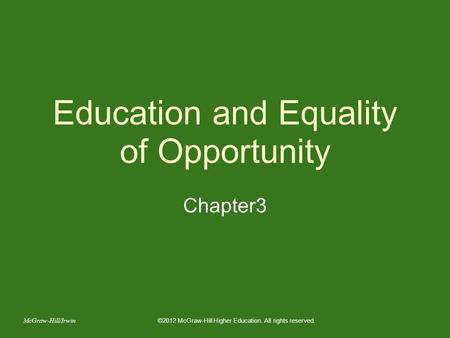 Education and Equality of Opportunity