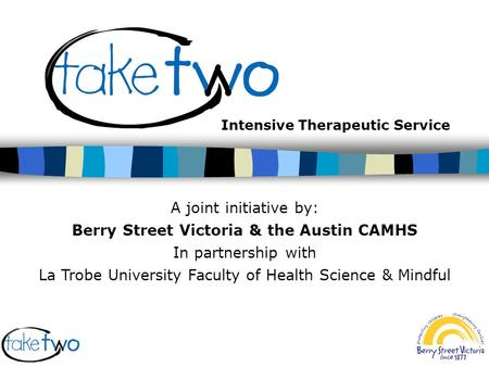 Intensive Therapeutic Service A joint initiative by: Berry Street Victoria & the Austin CAMHS In partnership with La Trobe University Faculty of Health.