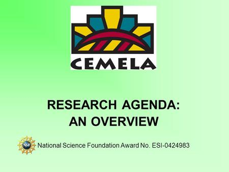 RESEARCH AGENDA: AN OVERVIEW National Science Foundation Award No. ESI-0424983.