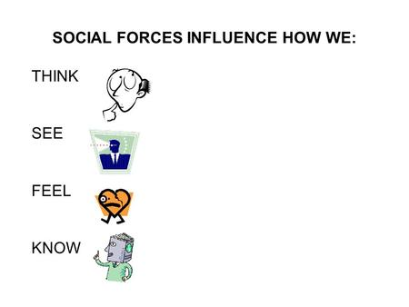 SOCIAL FORCES INFLUENCE HOW WE: THINK SEE FEEL KNOW.