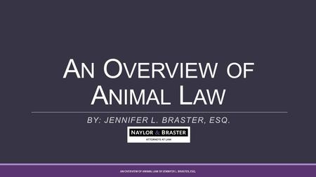 A N O VERVIEW OF A NIMAL L AW BY: JENNIFER L. BRASTER, ESQ. AN OVERVIEW OF ANIMAL LAW BY JENNIFER L. BRASTER, ESQ.