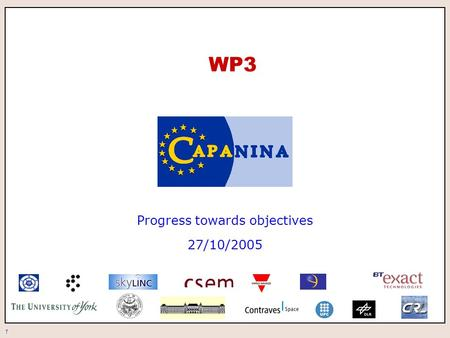 1 WP3 Progress towards objectives 27/10/2005. 2 WP3.1 Communications equipment for trials The objectives of this work package are: to configure existing.