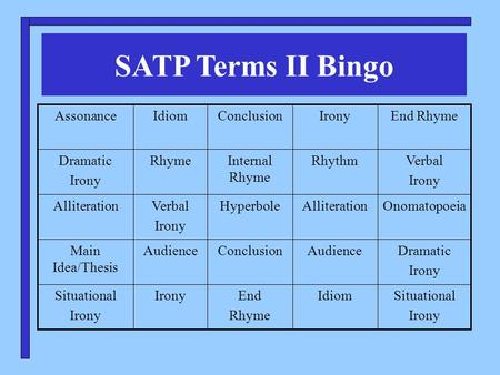 SATP Terms II Bingo Situational Irony IdiomEnd Rhyme IronySituational Irony Dramatic Irony AudienceConclusionAudienceMain Idea/Thesis OnomatopoeiaAlliterationHyperboleVerbal.