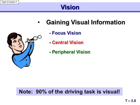 Gaining Visual InformationGaining Visual Information - Focus Vision - Focus Vision - Central Vision - Central Vision - Peripheral Vision - Peripheral Vision.