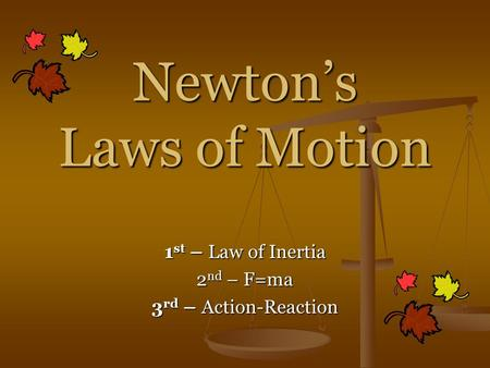 Newton's Laws of Motion 1 st – Law of Inertia 2 nd – F=ma 3 rd – Action-Reaction.