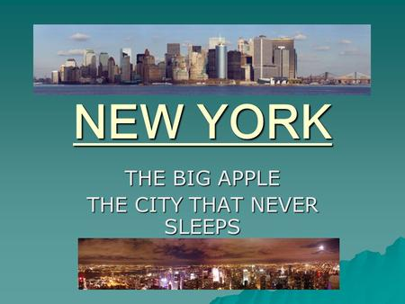 NEW YORK THE BIG APPLE THE CITY THAT NEVER SLEEPS.