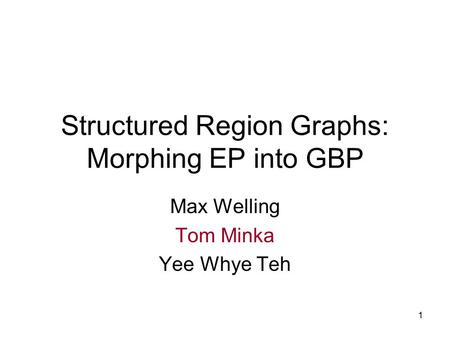 1 Structured Region Graphs: Morphing EP into GBP Max Welling Tom Minka Yee Whye Teh.