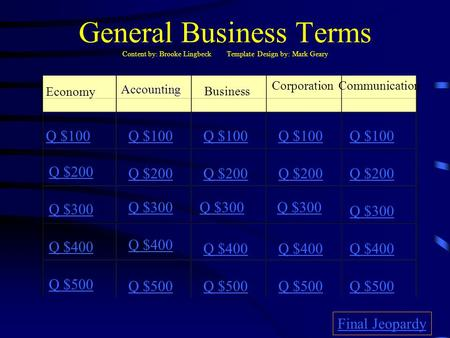 General Business Terms Content by: Brooke Lingbeck Template Design by: Mark Geary Economy Business CorporationCommunication Q $100 Q $200 Q $300 Q $400.