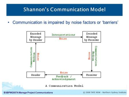 BSBPMG507A Manage Project Communications Shannon's Communication Model Communication is impaired by noise factors or 'barriers'