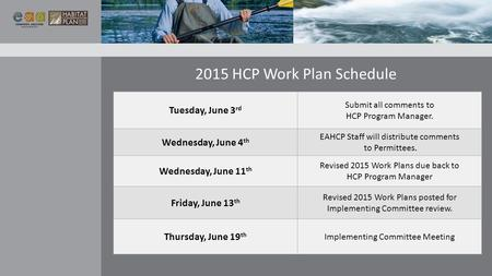 2015 HCP Work Plan Schedule Tuesday, June 3 rd Submit all comments to HCP Program Manager. Wednesday, June 4 th EAHCP Staff will distribute comments to.