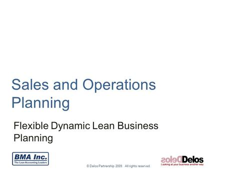 © Delos Partnership 2009. All rights reserved. Sales and Operations Planning Flexible Dynamic Lean Business Planning.