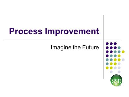Process Improvement Imagine the Future. What is Process Improvement? Better (Quality) Faster (More Efficiency) Cost Effective Profit (King) Savings Cost.