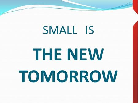 SMALL IS THE NEW TOMORROW. SMALL IS BIG ERP INVESTMENT INTO BETTER TOMORROW.