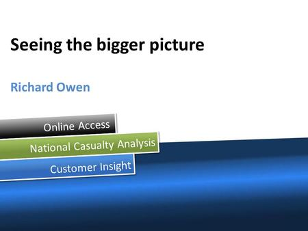 Online Access National Casualty Analysis Customer Insight Seeing the bigger picture Richard Owen.