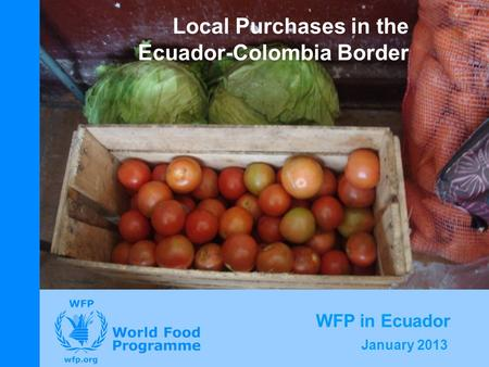 January 2013 Local Purchases in the Ecuador-Colombia Border WFP in Ecuador.