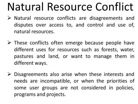 Natural Resource Conflict