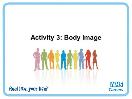 Activity 3: Body image. What is body image? Body image refers to a person's perception of their body. It's how a person feels about their body and how.