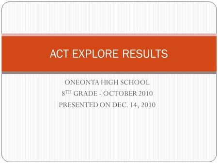 ONEONTA HIGH SCHOOL 8 TH GRADE - OCTOBER 2010 PRESENTED ON DEC. 14, 2010 ACT EXPLORE RESULTS.